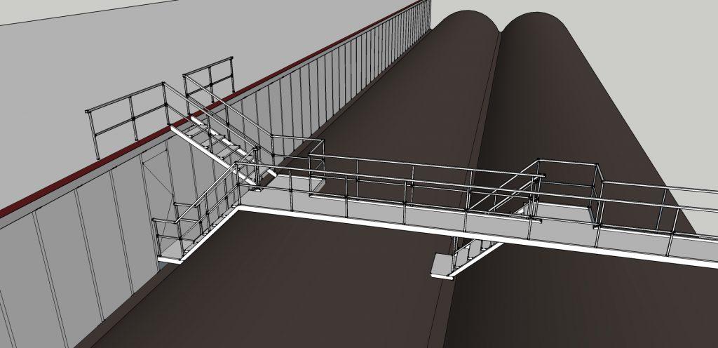 Ontwerp loopbruggen met bordessen daktoegang